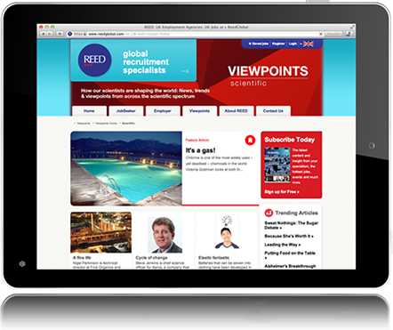 reed global viewpoints responsive website for tablet